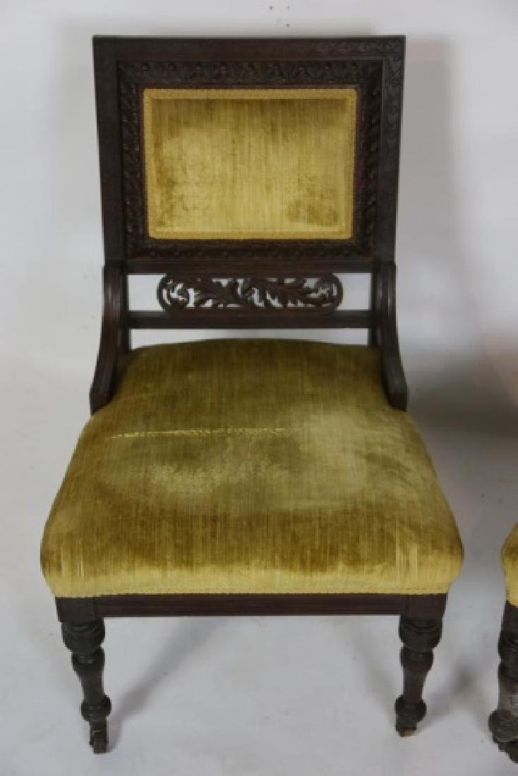 ENGLISH VICTORIAN PIERCE CARVED  MAHOGANY CHAIRS - 6
