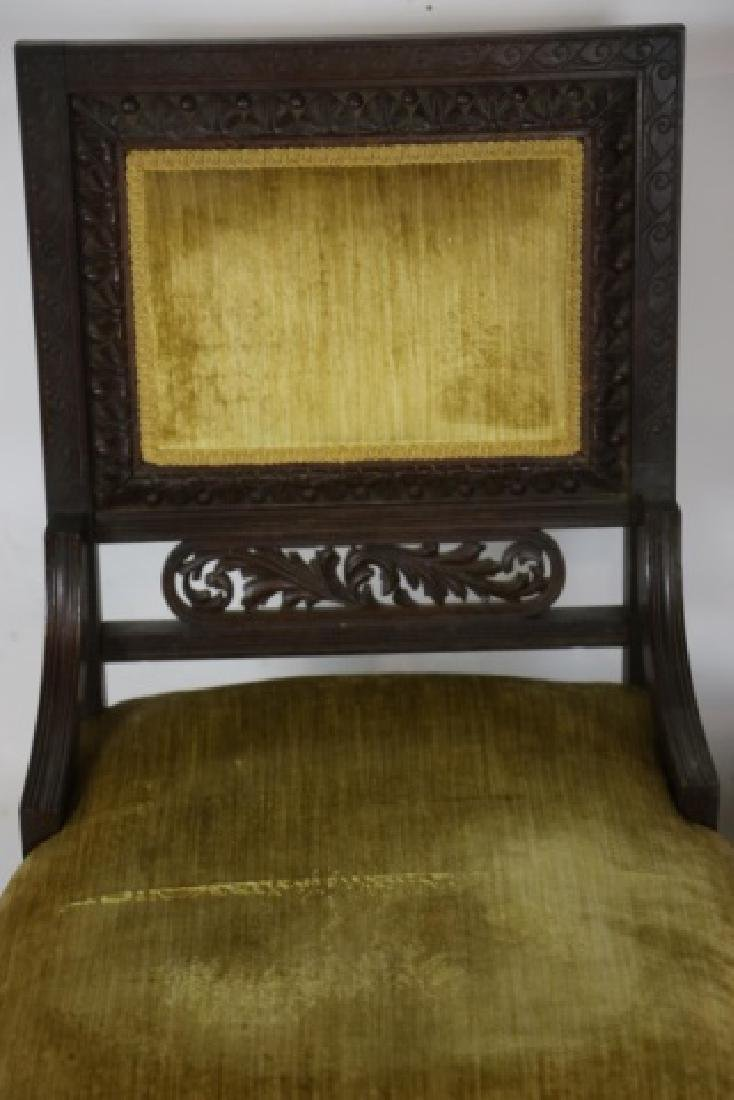 ENGLISH VICTORIAN PIERCE CARVED  MAHOGANY CHAIRS - 7