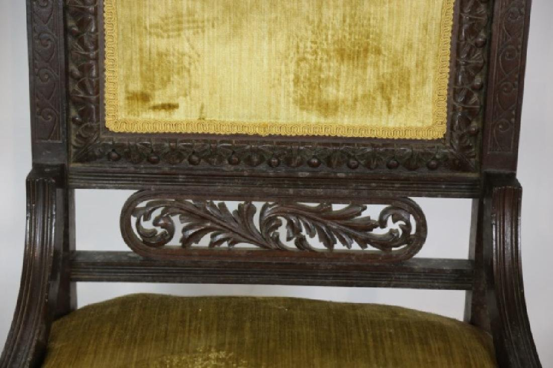 ENGLISH VICTORIAN PIERCE CARVED  MAHOGANY CHAIRS - 8