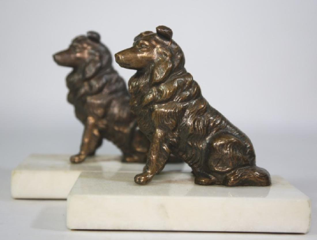 BRONZE SPANIEL ON MARBLE BASED BOOKENDS
