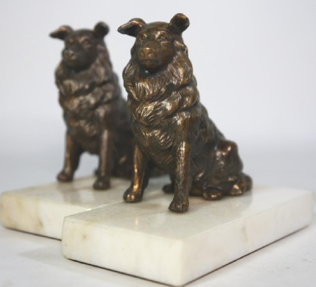 BRONZE SPANIEL ON MARBLE BASED BOOKENDS - 2