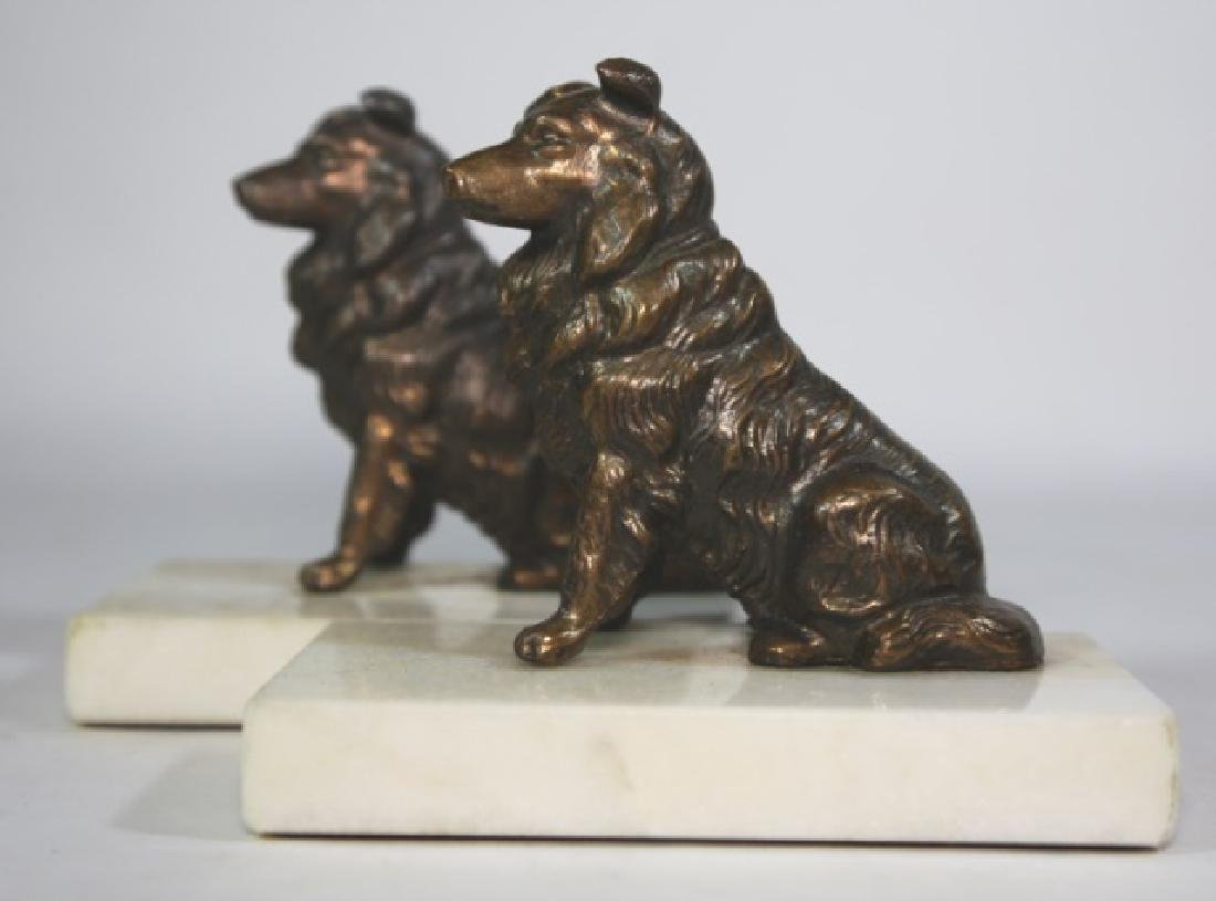 BRONZE SPANIEL ON MARBLE BASED BOOKENDS - 4