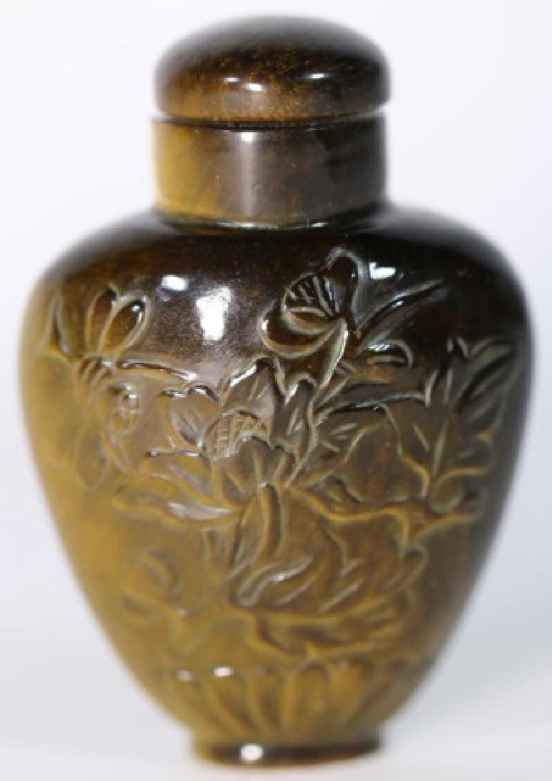 CHINESE ANTIQUE TIGER EYE SNUFF BOTTLE