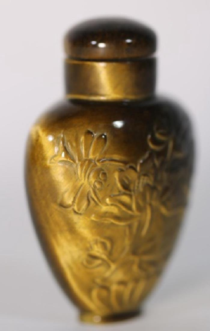 CHINESE ANTIQUE TIGER EYE SNUFF BOTTLE - 2