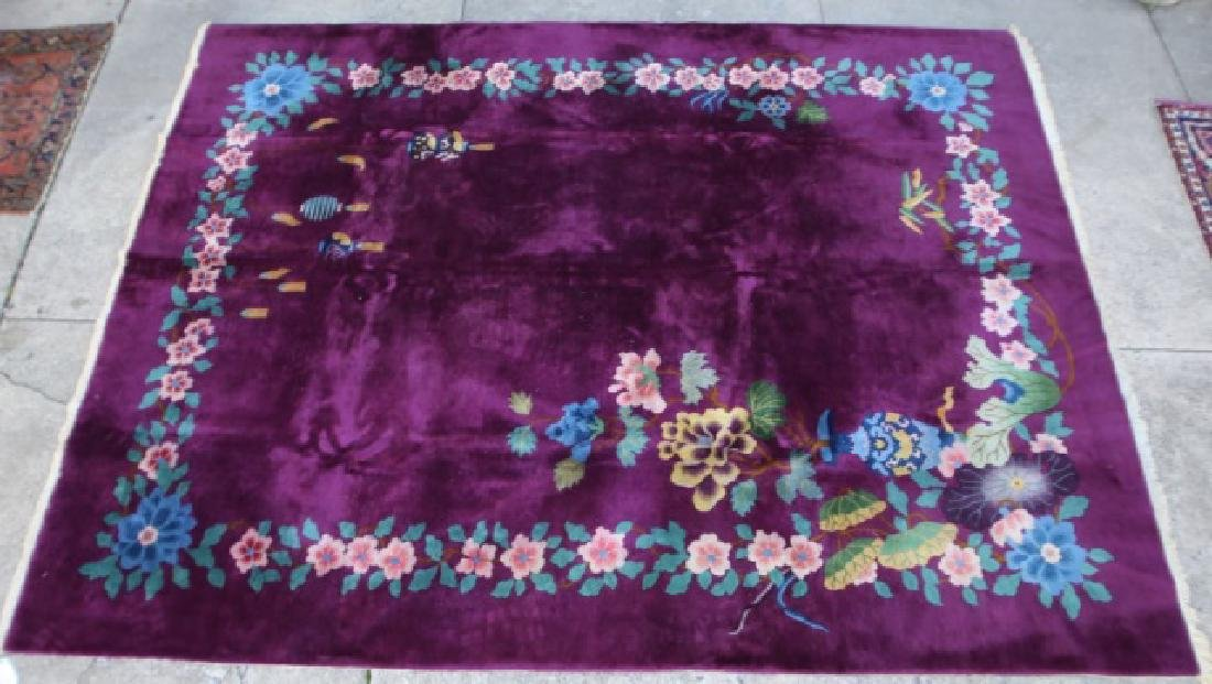 CHINESE VERY FINE VINTAGE PLUM AREA CARPET