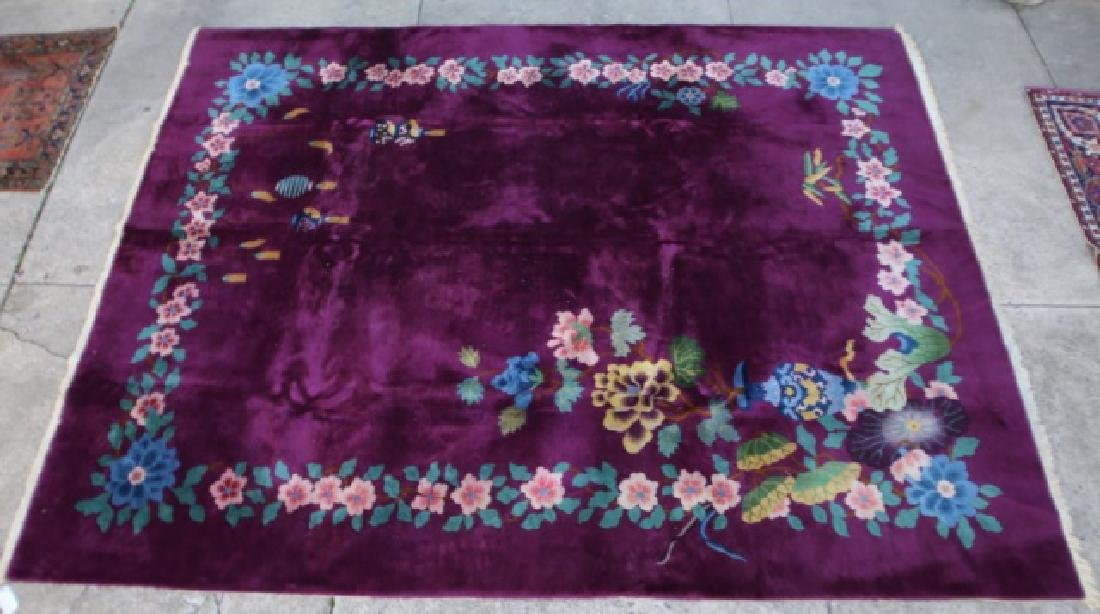 CHINESE VERY FINE VINTAGE PLUM AREA CARPET - 5