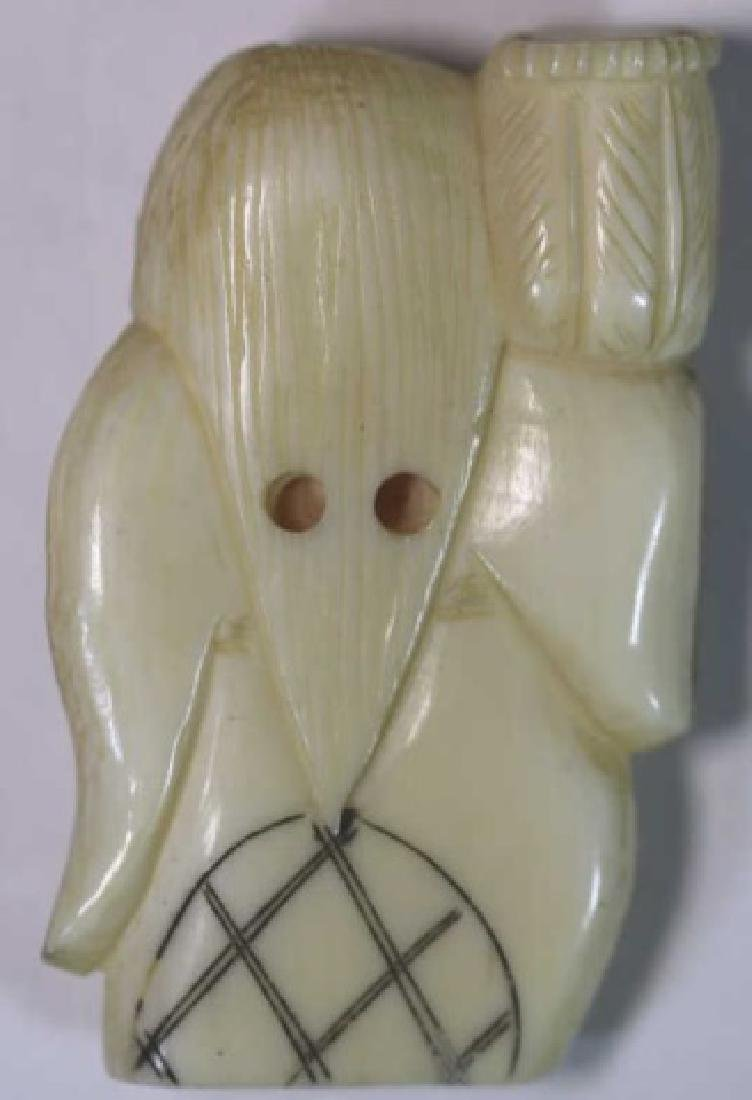 JAPANESE ANTIQUE ROLLING FACE HAND CARVED  NETSUKE - 5