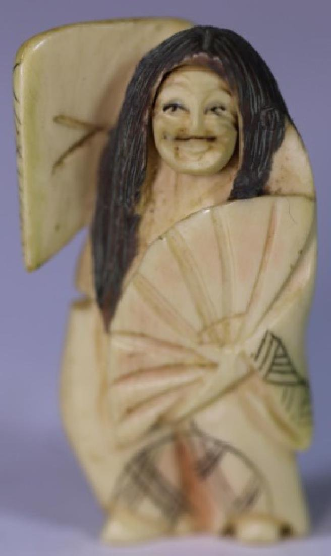 JAPANESE ANTIQUE ROLLING FACE HAND CARVED  NETSUKE - 6