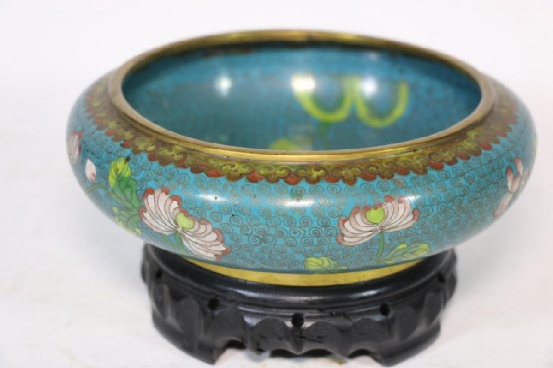 CHINESE ANTIQUE CLOISONNE LOW BOWL ON STAND - 2