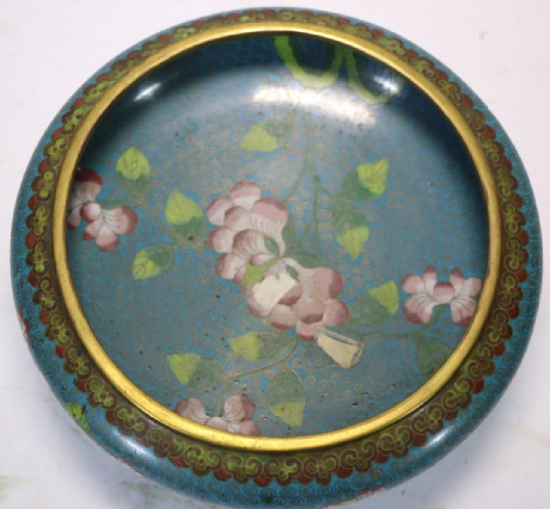 CHINESE ANTIQUE CLOISONNE LOW BOWL ON STAND - 3