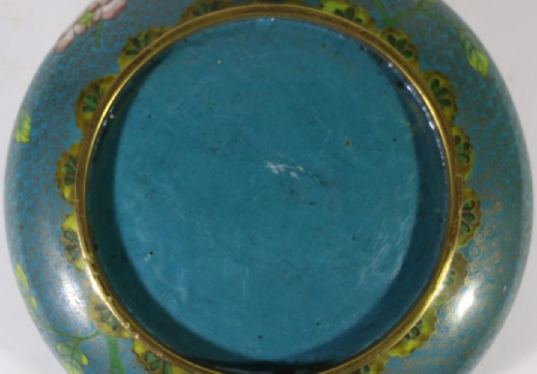 CHINESE ANTIQUE CLOISONNE LOW BOWL ON STAND - 6