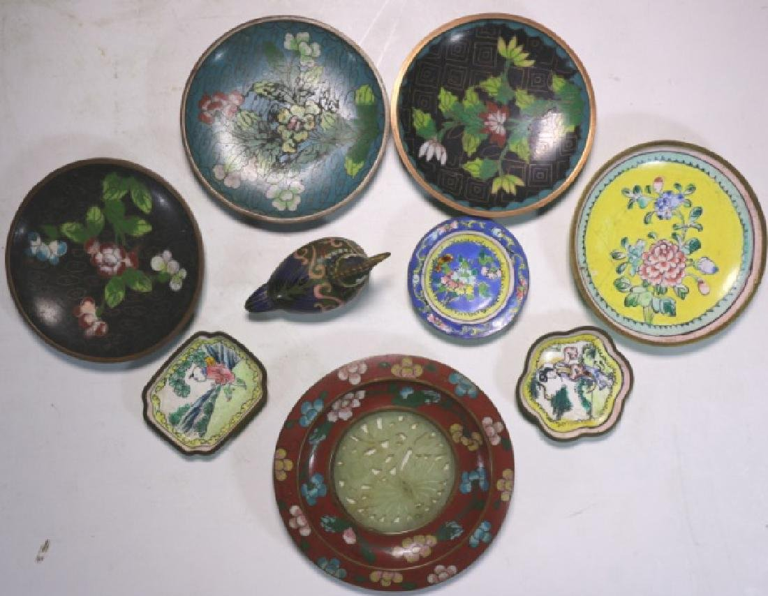 CHINESE ANTIQUE CLOISONNE / JADE GROUPNG