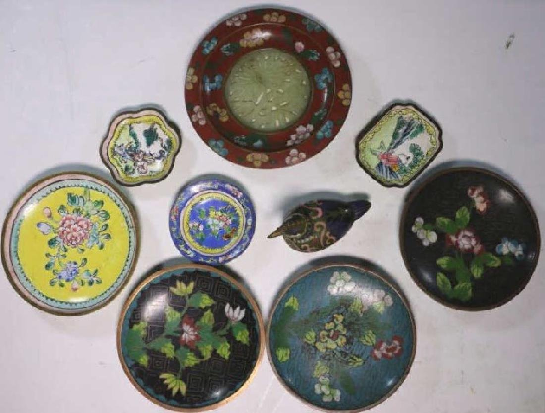 CHINESE ANTIQUE CLOISONNE / JADE GROUPNG - 2