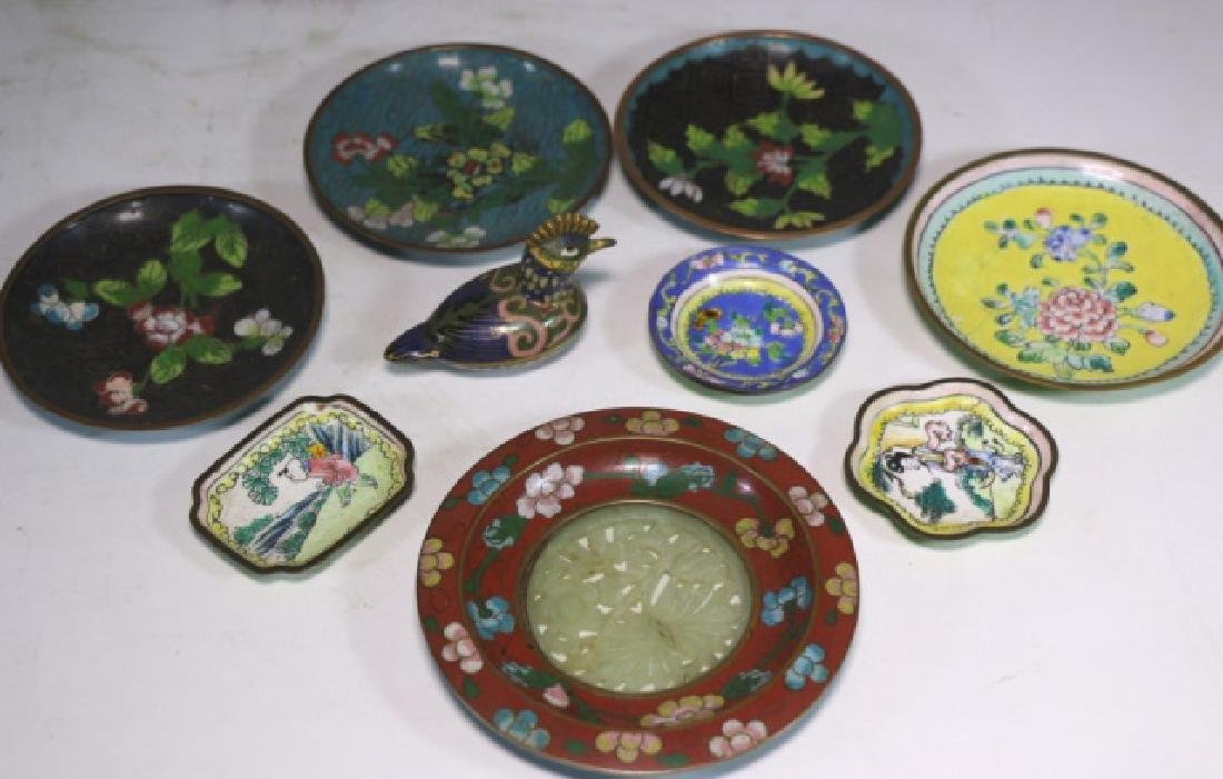 CHINESE ANTIQUE CLOISONNE / JADE GROUPNG - 4