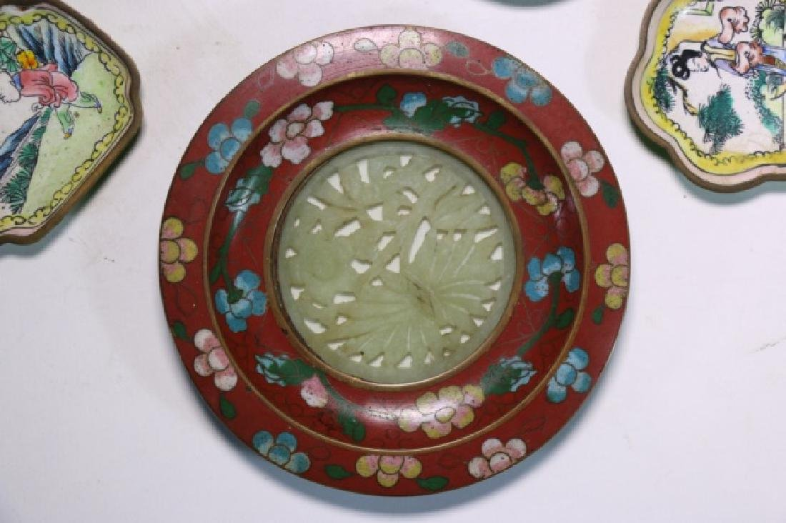 CHINESE ANTIQUE CLOISONNE / JADE GROUPNG - 5