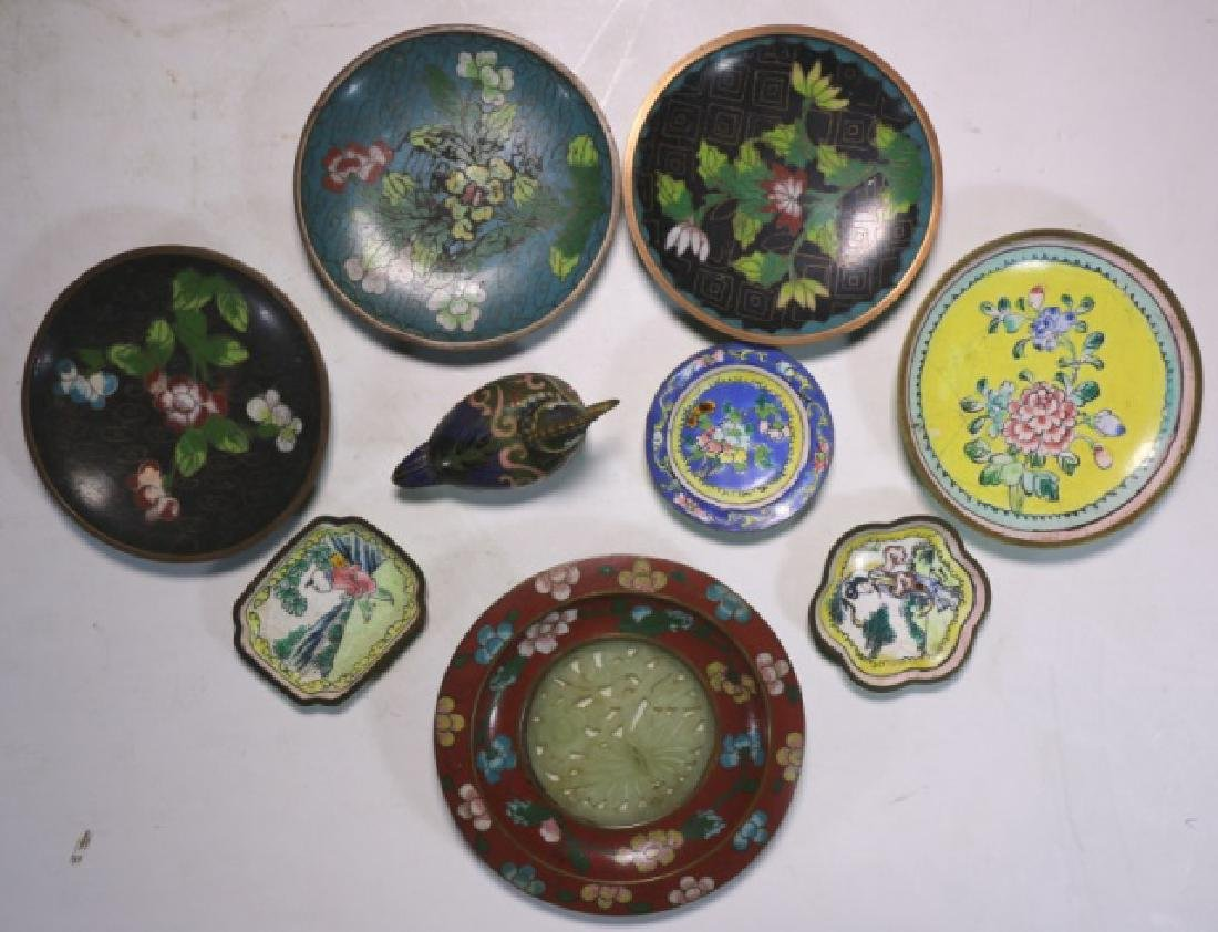 CHINESE ANTIQUE CLOISONNE / JADE GROUPNG - 6