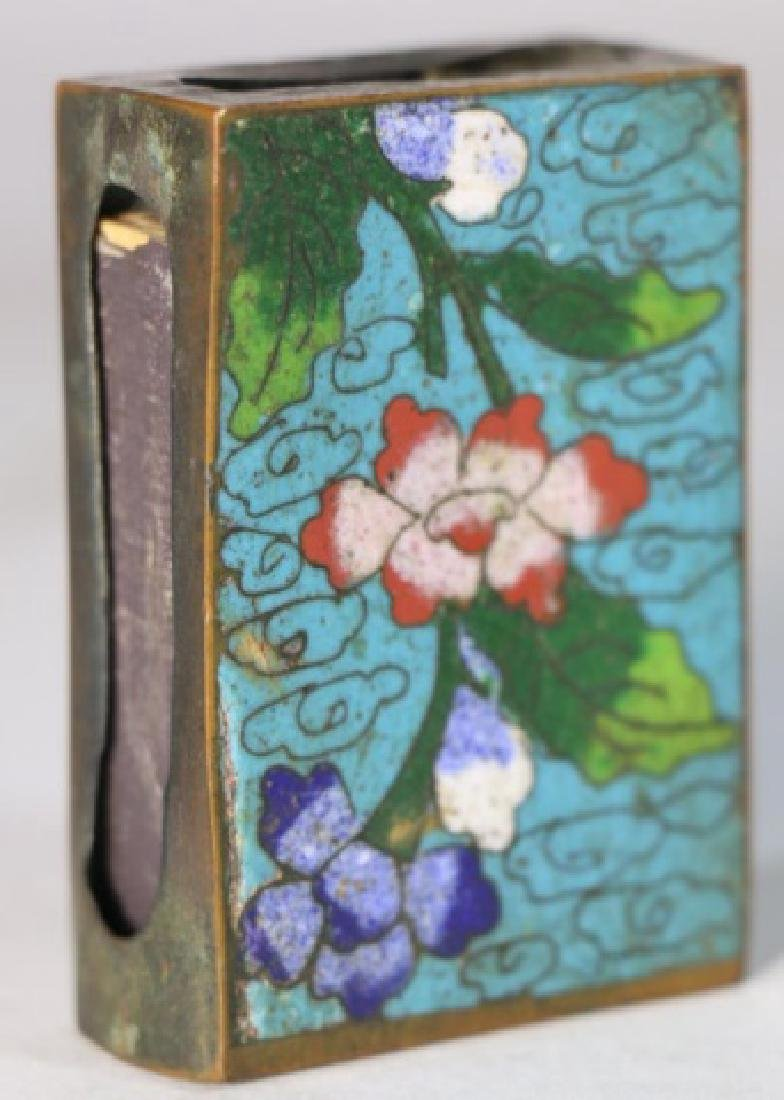 CHINESE ANTIQUE CLOISONNE MATCH STRIKE BOX