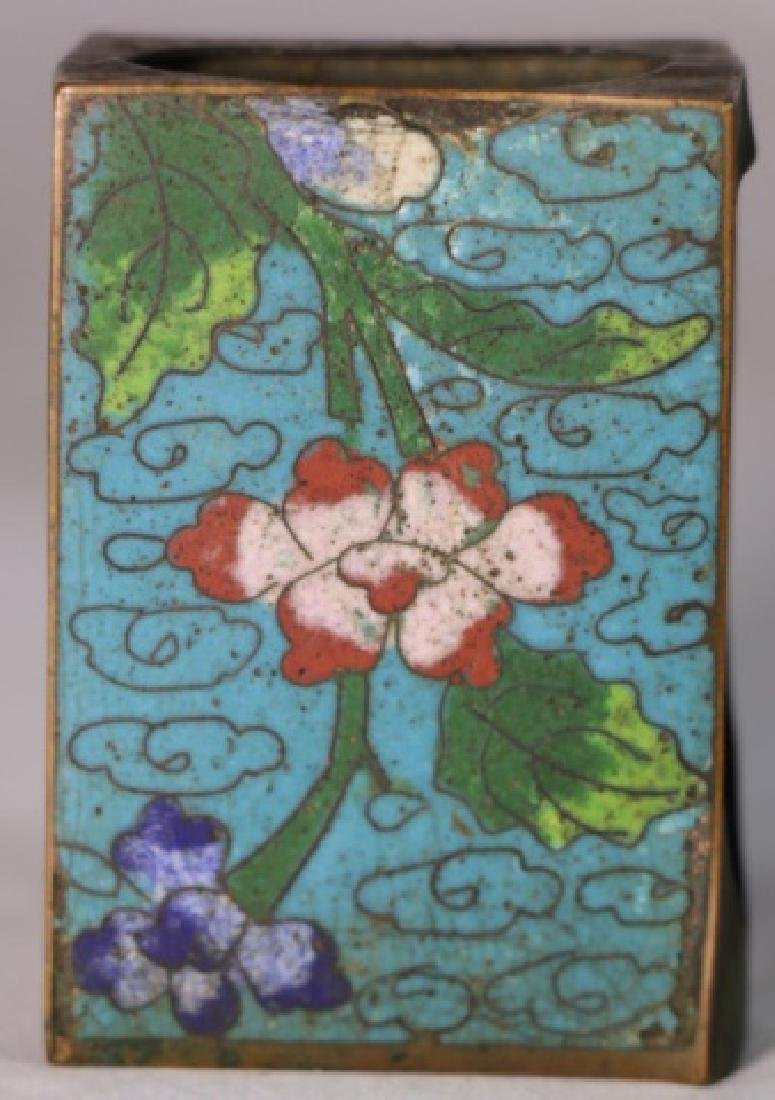 CHINESE ANTIQUE CLOISONNE MATCH STRIKE BOX - 2