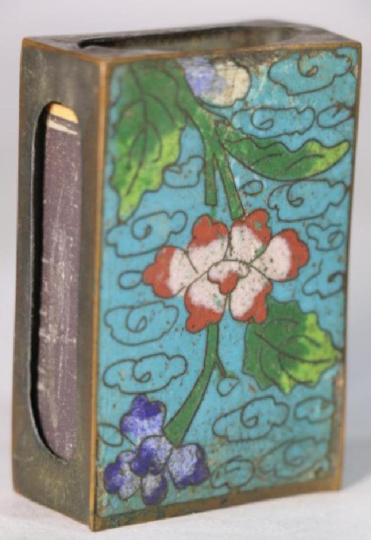 CHINESE ANTIQUE CLOISONNE MATCH STRIKE BOX - 3