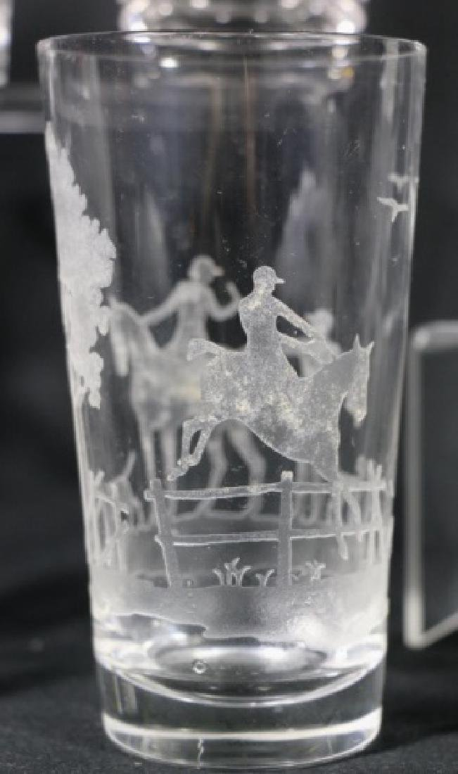 HEISEY EQUESTRIAN FOX CHASE ETCHED DB OLD FASHIONS - 2