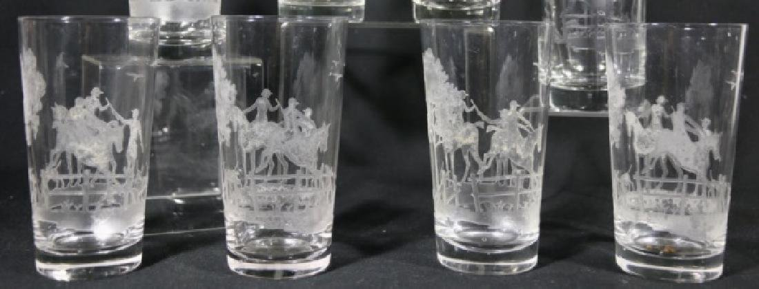 HEISEY EQUESTRIAN FOX CHASE ETCHED DB OLD FASHIONS - 3