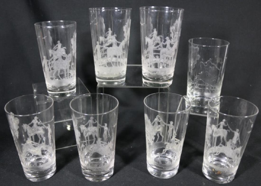 HEISEY EQUESTRIAN FOX CHASE ETCHED DB OLD FASHIONS - 4