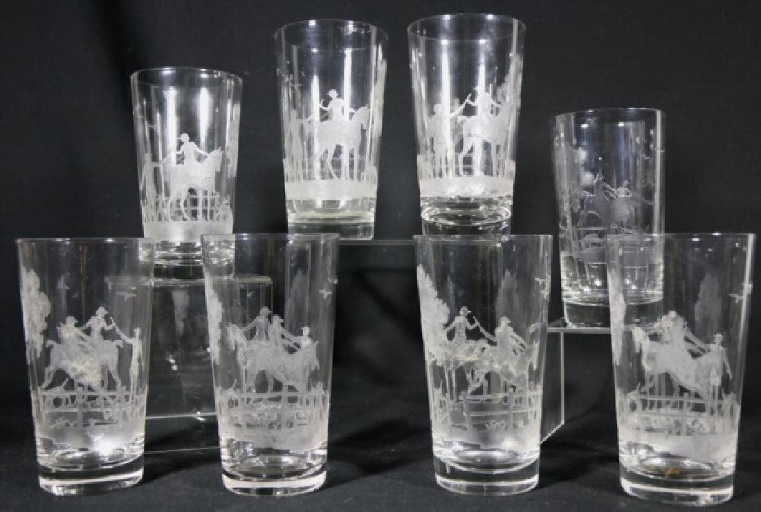 HEISEY EQUESTRIAN FOX CHASE ETCHED DB OLD FASHIONS - 5
