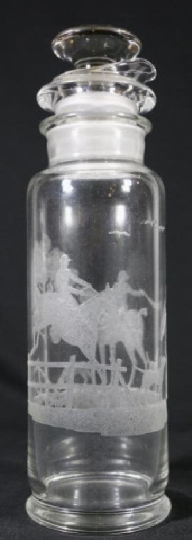 HEISEY EQUESTRIAN FOX CHASE ETCHED COCKTAIL SHAKER