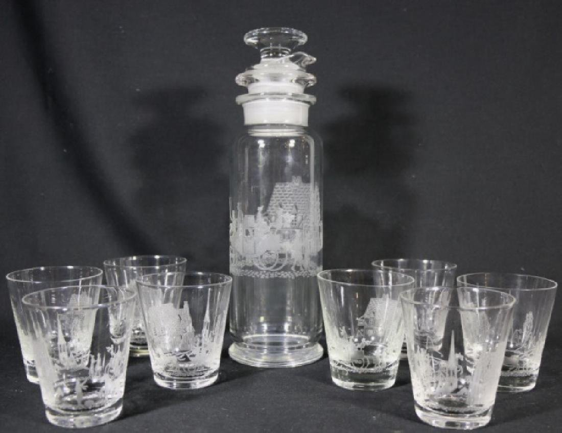 "HEISEY EQUESTRIAN""TALLY HO"" ETCHED COCKTAIL GROUP"