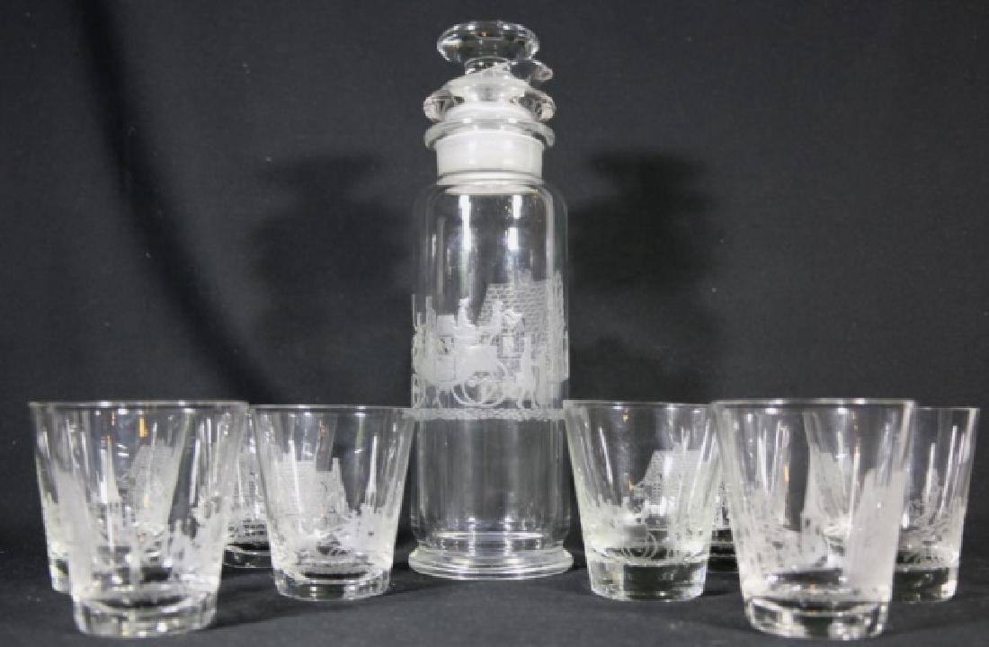 "HEISEY EQUESTRIAN""TALLY HO"" ETCHED COCKTAIL GROUP - 3"
