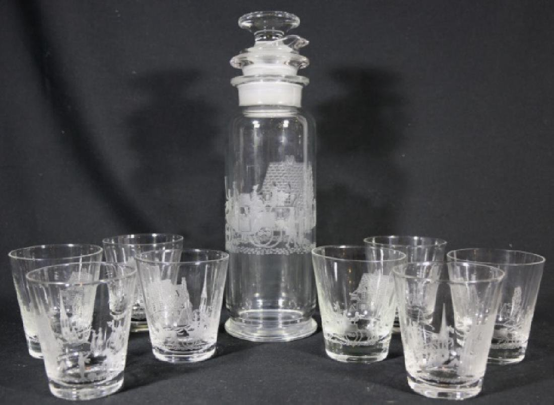"HEISEY EQUESTRIAN""TALLY HO"" ETCHED COCKTAIL GROUP - 4"