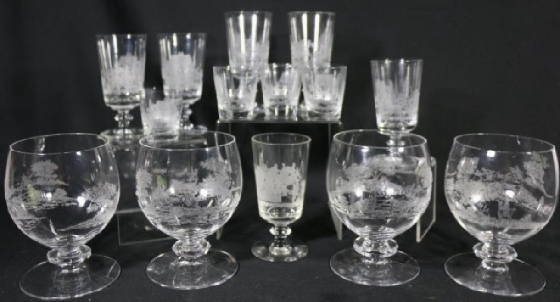 """HEISEY EQUESTRIAN""""TALLY HO"""" ETCHED GLASS GROUPING"""
