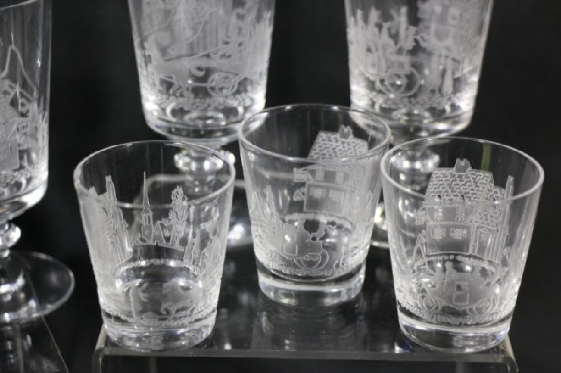 """HEISEY EQUESTRIAN""""TALLY HO"""" ETCHED GLASS GROUPING - 3"""