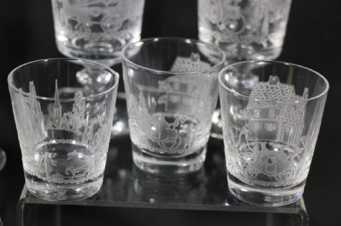 """HEISEY EQUESTRIAN""""TALLY HO"""" ETCHED GLASS GROUPING - 4"""