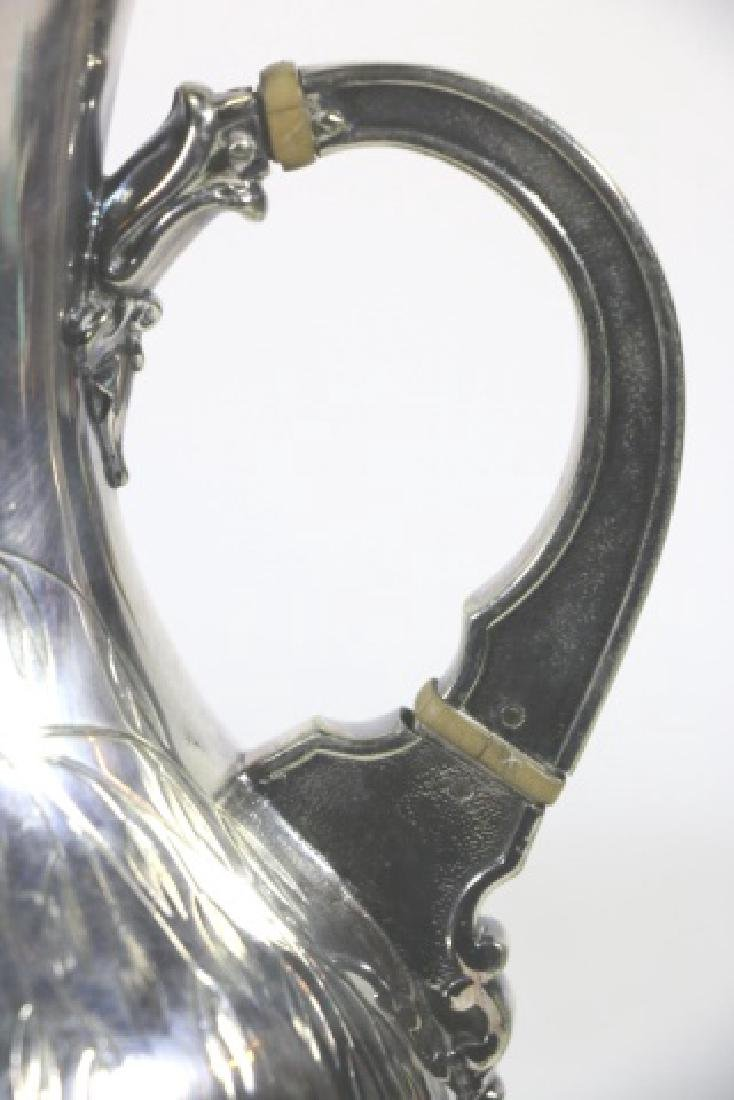 ANTIQUE HAND SCROLLED & CHASED SILVER PITCHER - 10