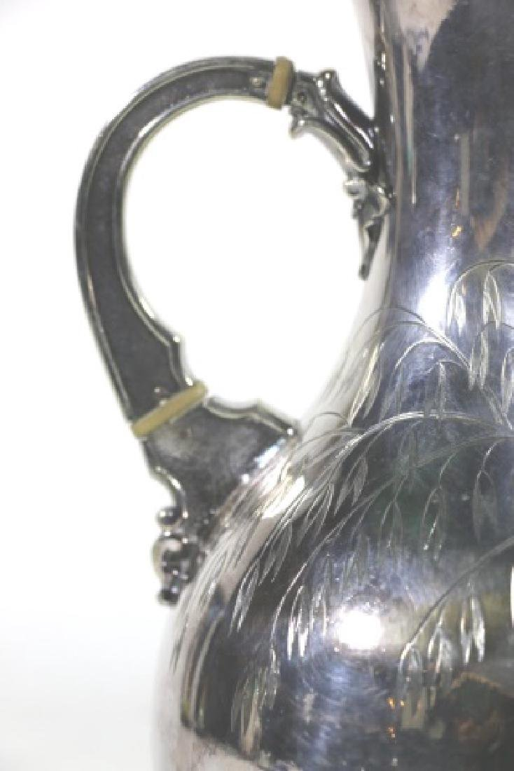ANTIQUE HAND SCROLLED & CHASED SILVER PITCHER - 3