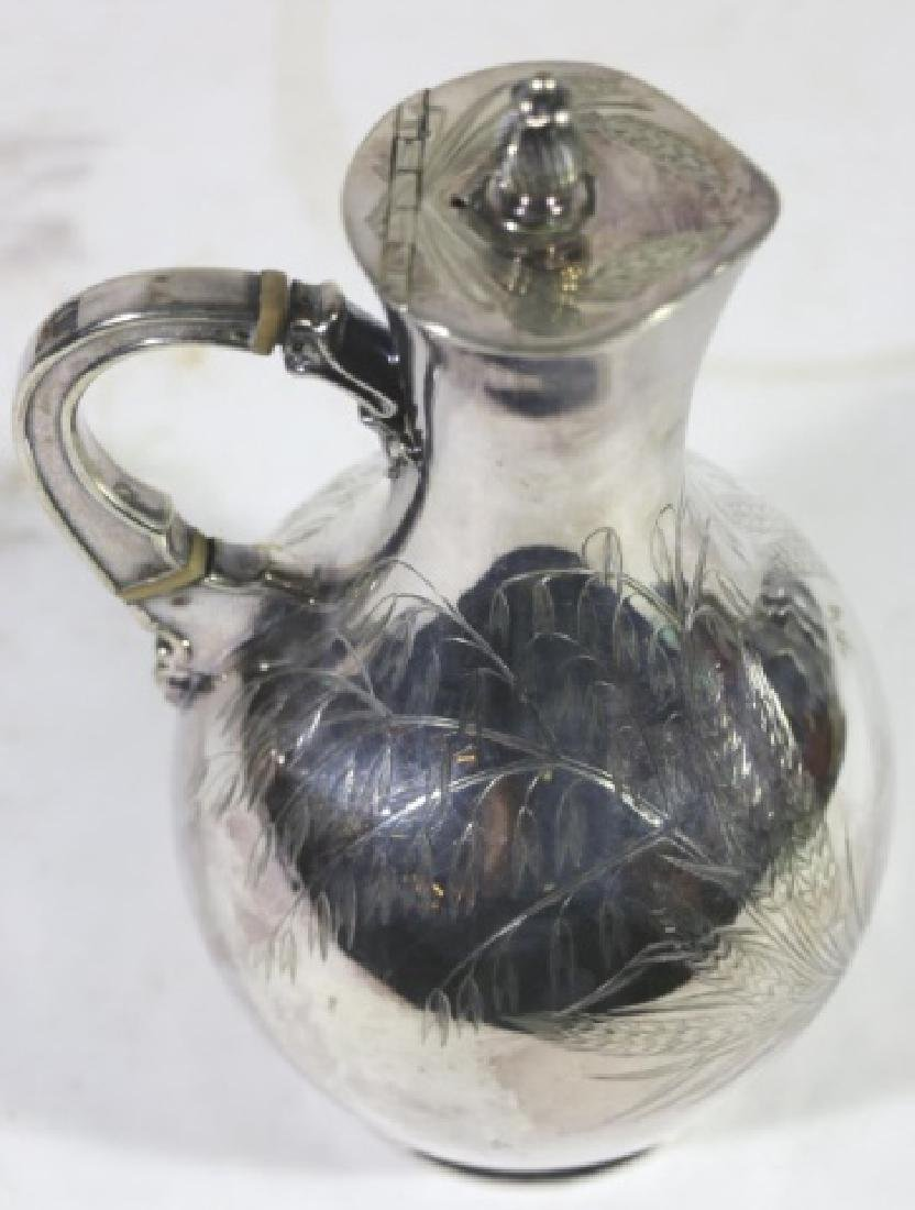 ANTIQUE HAND SCROLLED & CHASED SILVER PITCHER - 5