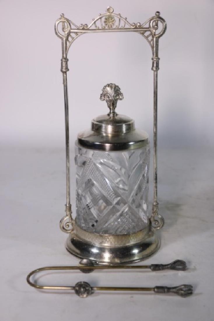 ANTIQUE VICTORIAN SILVER & CUT GLASS PICKLE CASTOR