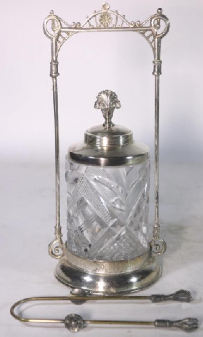 ANTIQUE VICTORIAN SILVER & CUT GLASS PICKLE CASTOR - 2