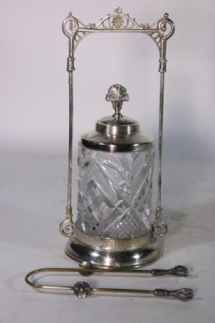ANTIQUE VICTORIAN SILVER & CUT GLASS PICKLE CASTOR - 3