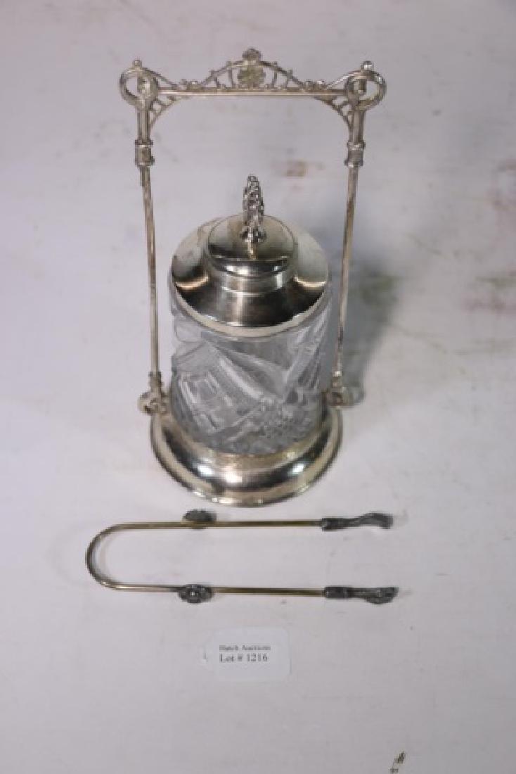 ANTIQUE VICTORIAN SILVER & CUT GLASS PICKLE CASTOR - 5