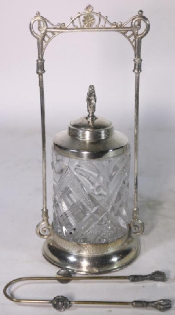 ANTIQUE VICTORIAN SILVER & CUT GLASS PICKLE CASTOR - 7