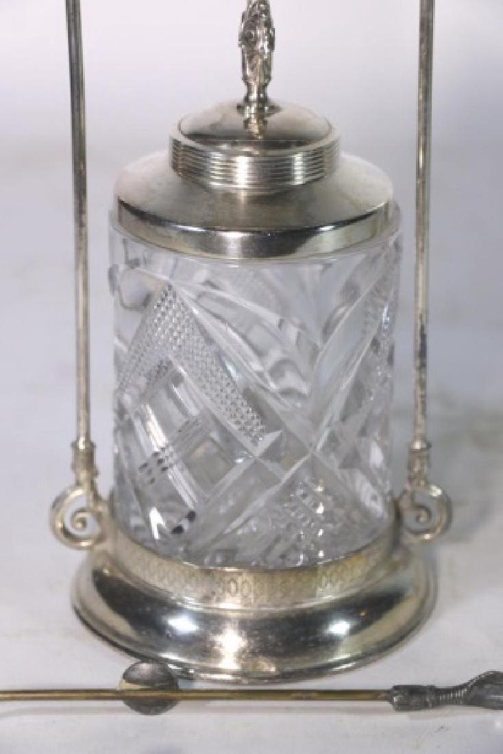 ANTIQUE VICTORIAN SILVER & CUT GLASS PICKLE CASTOR - 8