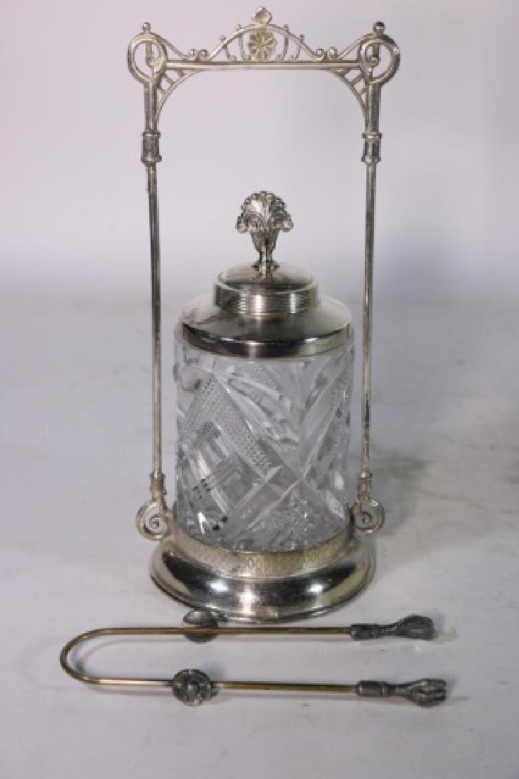 ANTIQUE VICTORIAN SILVER & CUT GLASS PICKLE CASTOR - 9