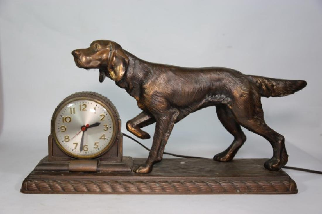 ART DECO FIGURAL BRONZED POINTER DOG CLOCK
