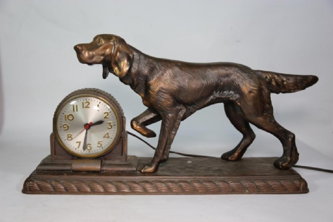 ART DECO FIGURAL BRONZED POINTER DOG CLOCK - 2