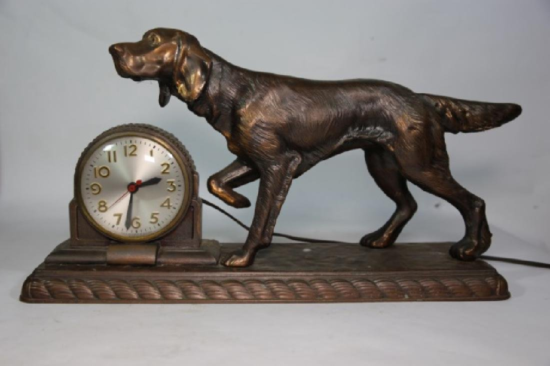 ART DECO FIGURAL BRONZED POINTER DOG CLOCK - 3
