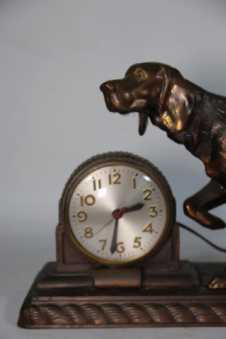 ART DECO FIGURAL BRONZED POINTER DOG CLOCK - 6