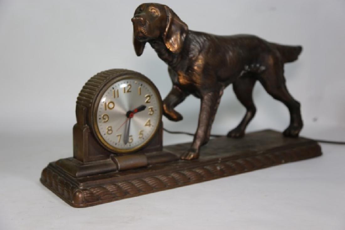 ART DECO FIGURAL BRONZED POINTER DOG CLOCK - 7