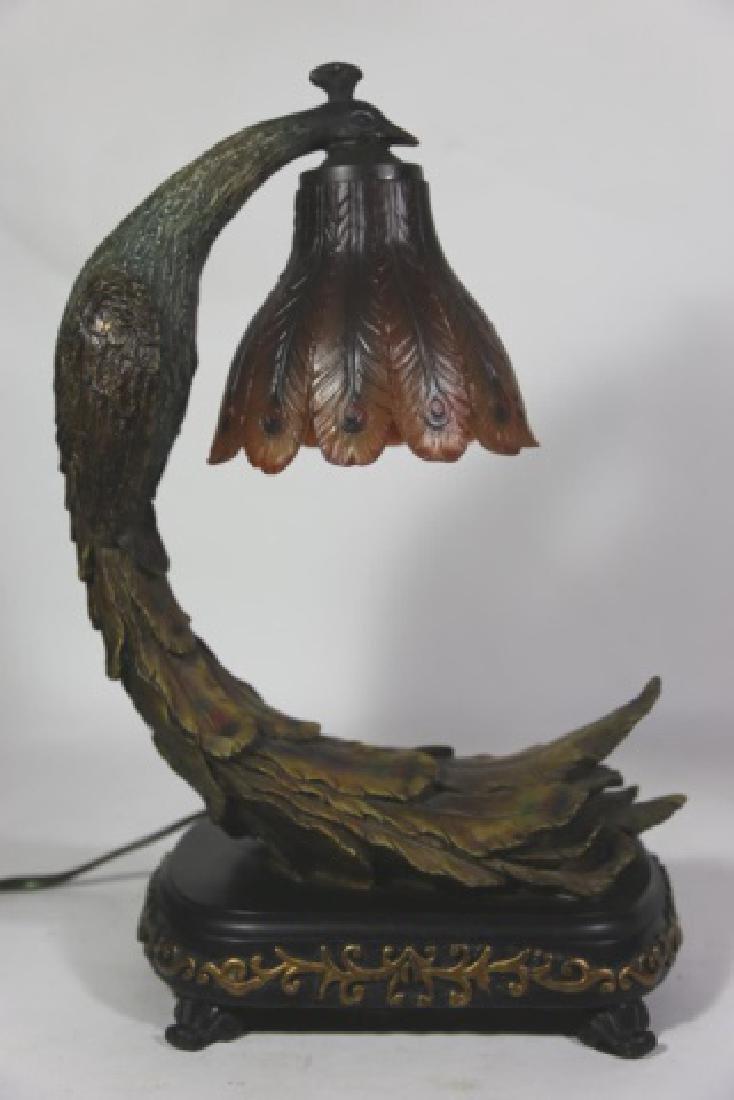 VINTAGE PEACOCK LAMP - 2